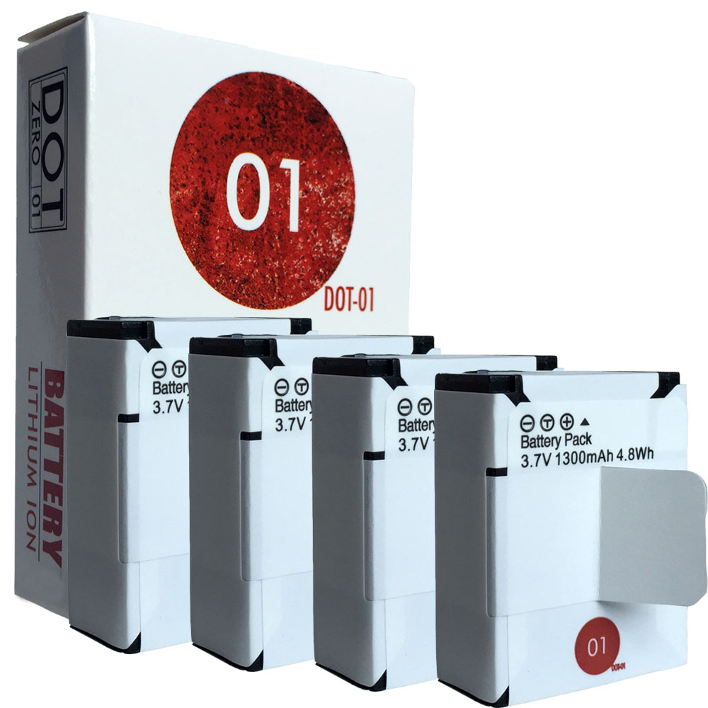 4x DOT-01 Brand 1300 mAh Replacement GoPro AHDBT-201 Batteries for GoPro HERO3 Camcorder and GoPro AHDBT201