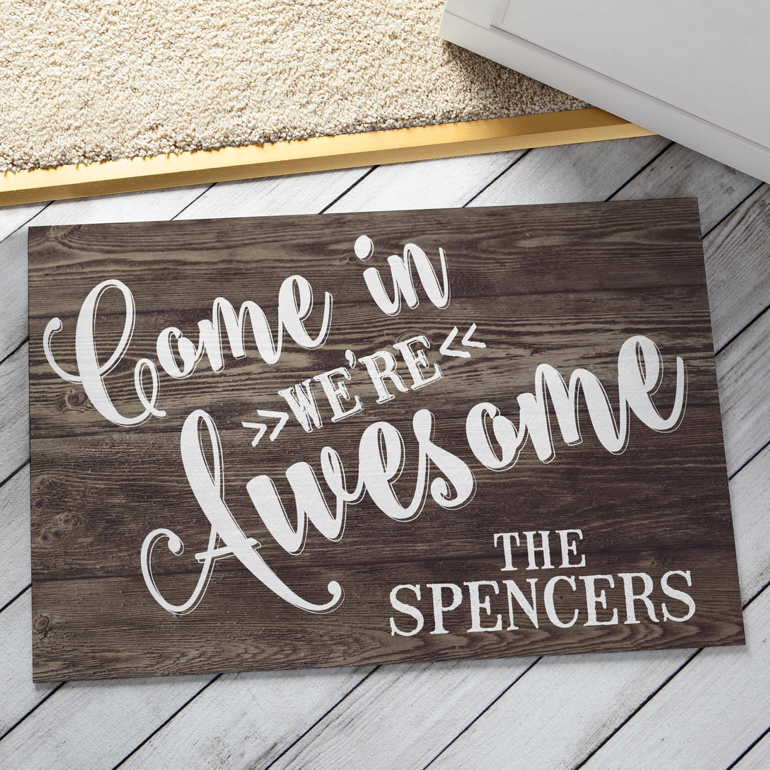 Come In We're Awesome Personalized Doormat