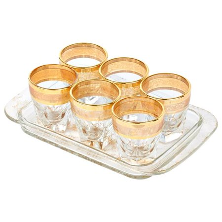 7 Piece Tray Set Shots with Tray Amber Color