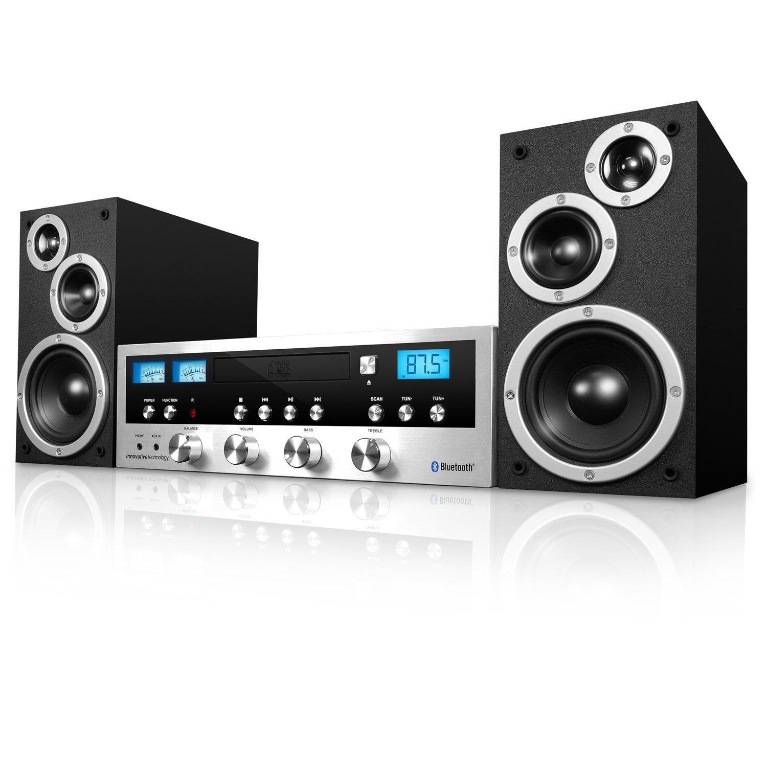 Refurbished 50-Watt Classic CD Stereo System with Bluetooth