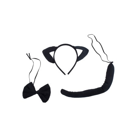 Lux Accessories Black White Cute Fun Kitty Cat Ears Bowtie Tail Costume Dressup