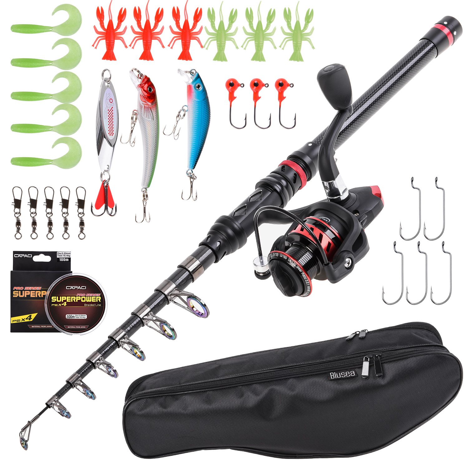 Telescopic Fishing Rod and Reel Spining Pole Case Combo Saltwater Freshwater