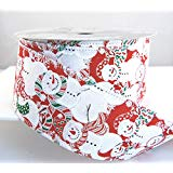 """Wire Nallie White, Red, and Green Snowman Christmas Ribbon 2 1/2"""" 25 Yards …"""