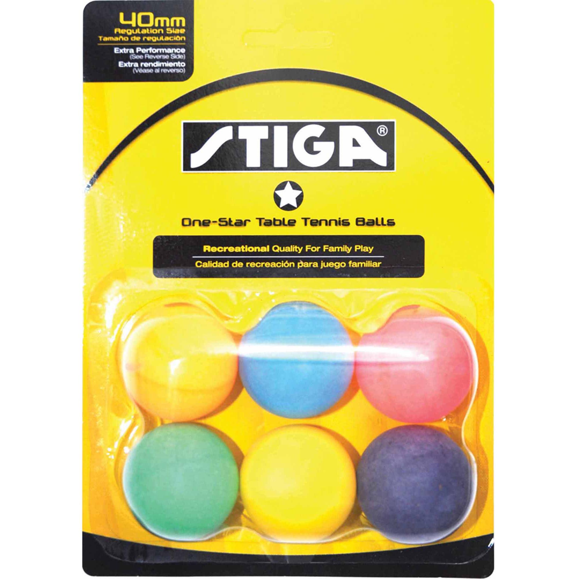 STIGA 1-Star Multicolor Table Tennis Balls, 6pk