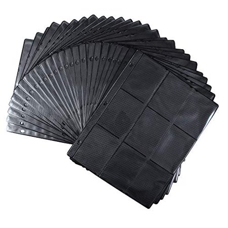 Trading Card Page Protectors- Double Thick Pages w Extra Strong Pockets- 25 9-Pocket TCG Album Binder Loose Sheets- Side Loading w Vertical Slots - for Yugioh, Magic, Pokemon, MTG by