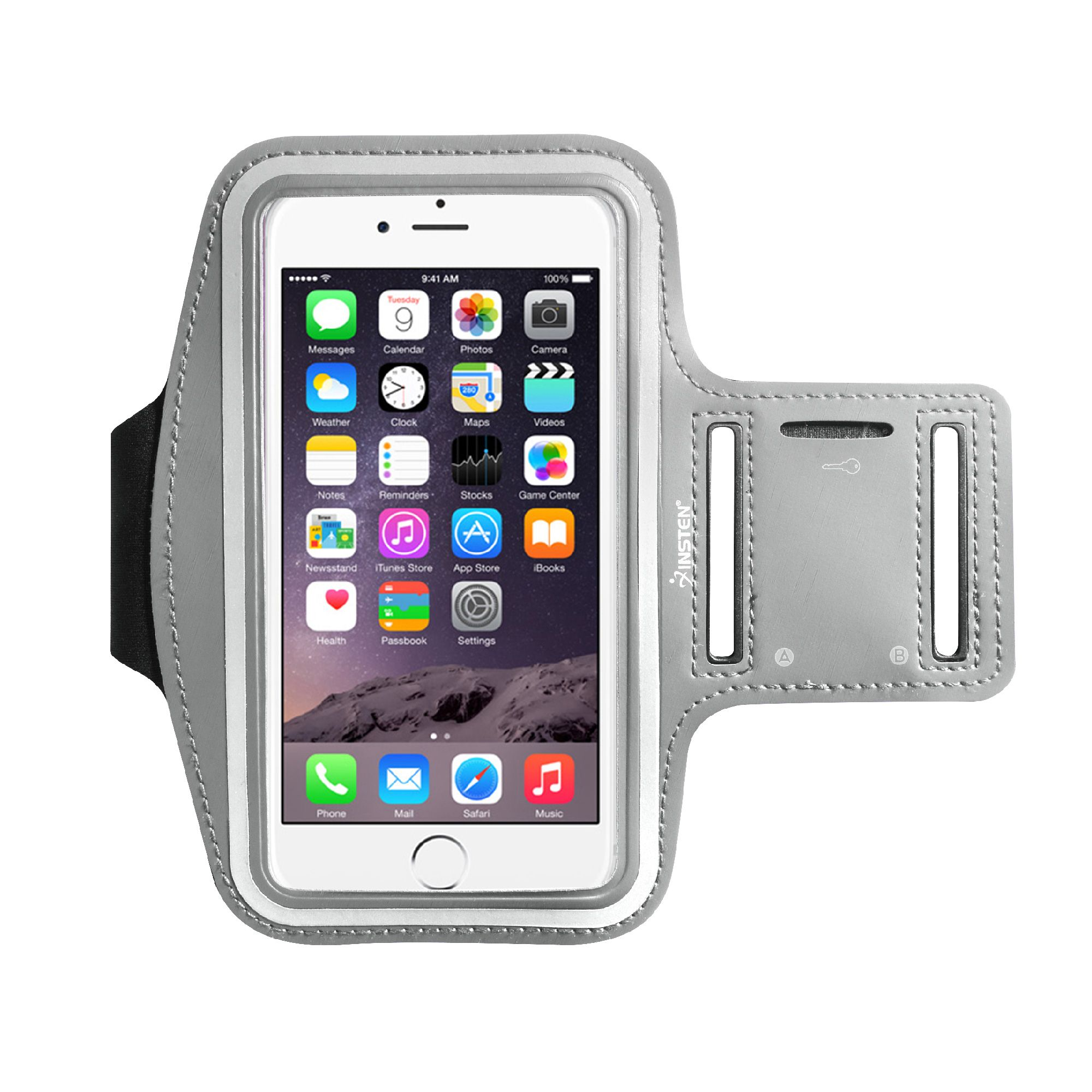 """Insten Universal Sports Armband Sportband Phone Holder Case (6.49"""" x 3.74"""") for iPhone 8 7 Plus 6s 6 X Samsung Galaxy S8 S7 S6 Note 8 5 4 LG G6 V30 Running Biking Workout Gym (with Key Storage slot)"""