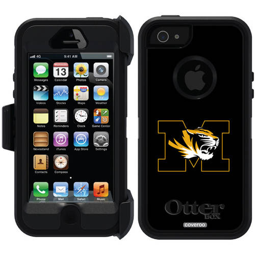 University of Missouri M Black Design on OtterBox Defender Series Case for Apple iPhone 5/5s