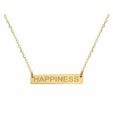 Silver Vermeil Plated Necklace with Bar - Happines Engraved - image 1 of 1