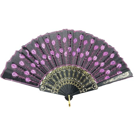 Folding Hand Fan - InnoLife Elegant Colorful Embroidered Flower Peacock Pattern Sequin Fabric Folding Handheld Hand Fan Hand-crafted (Full Set - 10pcs Mixed Colors) and 8 carrying pouches
