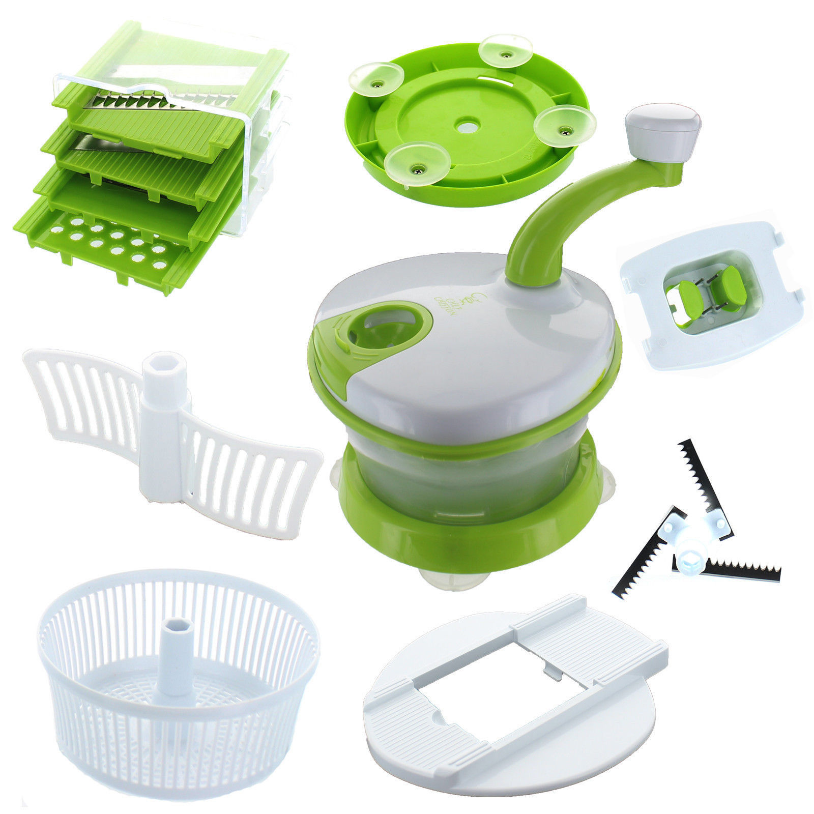 Chef Chiffon Food Processor All In One Salad Spinner Tri Blade Chopper Slicer
