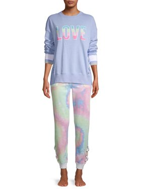 Secret Treasures Women's and Women's Plus Lace-Up Jogger Sweatpant & Pullover Sleep Set