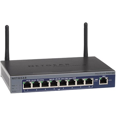 NETGEAR ProSAFE 8-Port Wireless-N VPN Firewall with SSL and IPSec VPN (FVS318N) Netgear ProSafe Wireless N 8-Port Gigabit VPN Firewall: Securely connects up to 5 users to network via VPNStateful packet inspection firewall for securityIPsec VPNs connect remote users as well as remote sites, with optional softwareGigabit Networking Ethernet ports offer 10x the speed of Fast EthernetSSL VPNs connect remote users without the need for additional softwareTrue firewall using stateful packet inspection (SPI) and intrusion detectionInitiates up to 12 VPN tunnels simultaneouslyIPsec VPN connections using (128-bit, 256-bit) AES and 168-bit 3DES encryptionNAT routing and VPN pass-through for extra securityIPV4/IPV6 supportApplication layer gateway support (SIP and FTP)Smart Wizard connects to your ISP quickly and easilyWindows, UNIX, Macintosh and Linux compatibleIntegrated 8-port 10/100/1000 Gigabit Ethernet switch5 SSL VPN connections64 VLAN support802.11b/g/n wireless 2.4Ghz with multiple SSID support