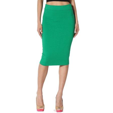 Shirred Waist Pencil Skirt (TheMogan Women's S~3X Elastic High Waist Stretch Cotton Knee Pencil Midi)