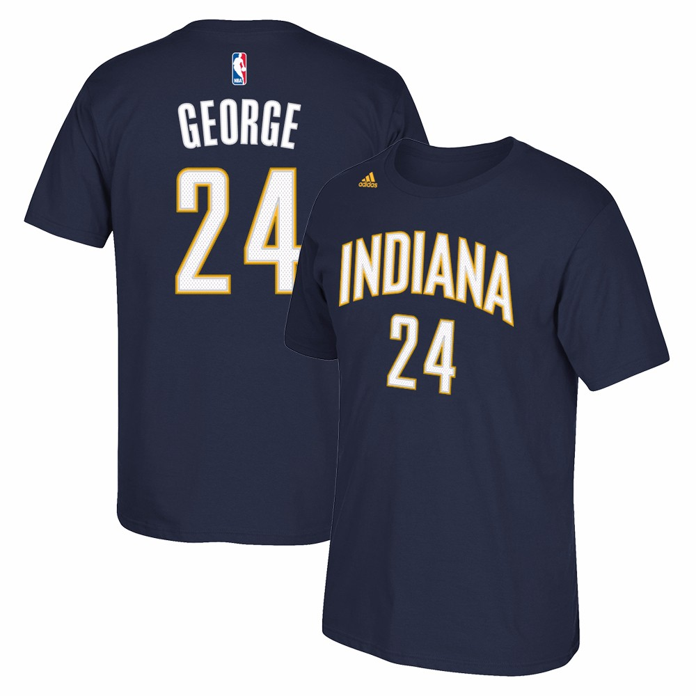 Paul George Indiana Pacers NBA Adidas Men Navy Official Player Name & Number Jersey T-Shirt
