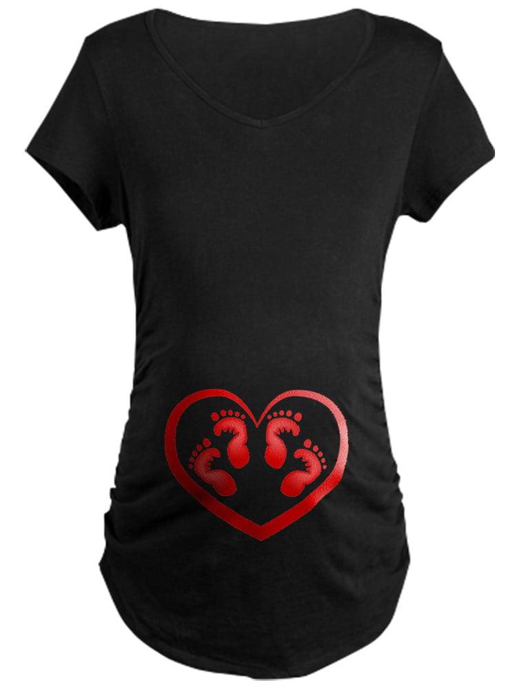 CafePress - Twin Baby Footprints Red Maternity T Shirt - Maternity Dark T-Shirt