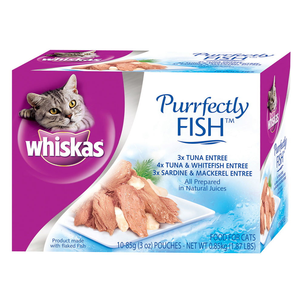 WHISKAS PURRFECTLY Fish Variety Pack Wet Cat Food, Featuring Tuna 3 Ounces (10 Count)