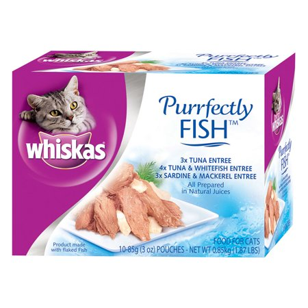 Whiskas purrfectly fish variety pack wet cat food for Is tuna fish good for cats
