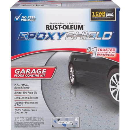 EPOXYSHIELD 1 Car Garage Floor Coating Kit- Gray Gloss - Gray Garage Floor