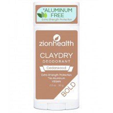 Clay Dry Bold Cedarwood Deodorant Zion Health 2.8 oz Stick Clay Dry Deodorant