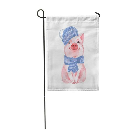 JSDART Pink Funny Pig in Blue Hat and Scarf Cute Watercolor Painting Garden Flag Decorative Flag House Banner 12x18 inch - image 1 of 1
