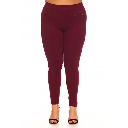 Womens Plus Size Double Front Side Zipper Detail Pull On Jeggings Pants KP922