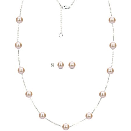 - 8mm x 9mm Pink Cultured Freshwater Pearl Sterling Silver Station Necklace and Matching Earring Set, 18