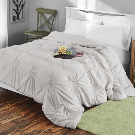 Circle Ruched Solid Microfiber Comforter by Mainstays