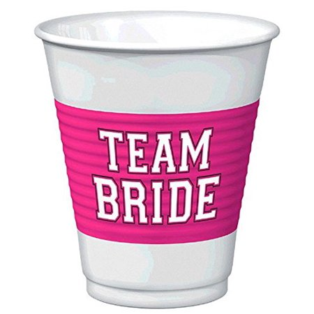 Amscan 25-Piece Team Bride Plastic Cups Set, 16 oz