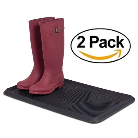 Internet's Best Rubber Boot & Shoe Tray | Includes 2 Qty | Heavy Duty | 28 x 16 Rectangle | Protects Floors from Water and Dirt | Waterproof for All Weather Indoor Outdoor Use | Pet Bowl