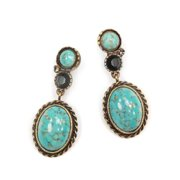 Sweet Romance Turquoise Oval Desert Country Earrings Turquoise