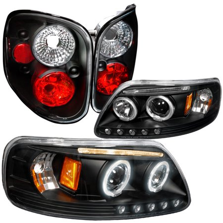 Spec-D Tuning For 1997-2000 Ford F150 Halo Projector Led Headlight Black + Clear Lens Tail Lamp 4Pc (Left+Right)