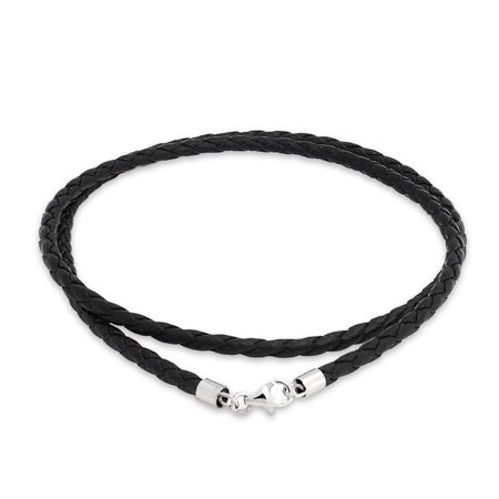 Black Genuine Leather Braided Weave Necklace Pendant Cord For Women For Men Teen Silver Plated Lobster Claw (Black Leather Jewelry)