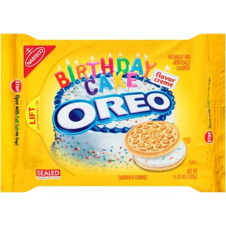 Nabisco Oreo Birthday Cake Creme Flavor Sandwich Cookies 1525 Oz