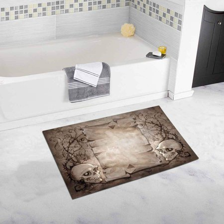 CADecor Halloween Vintage Skull and Plants Bath Rug Bathroom Mat Doormat 30x18 inches - Halloween Plants