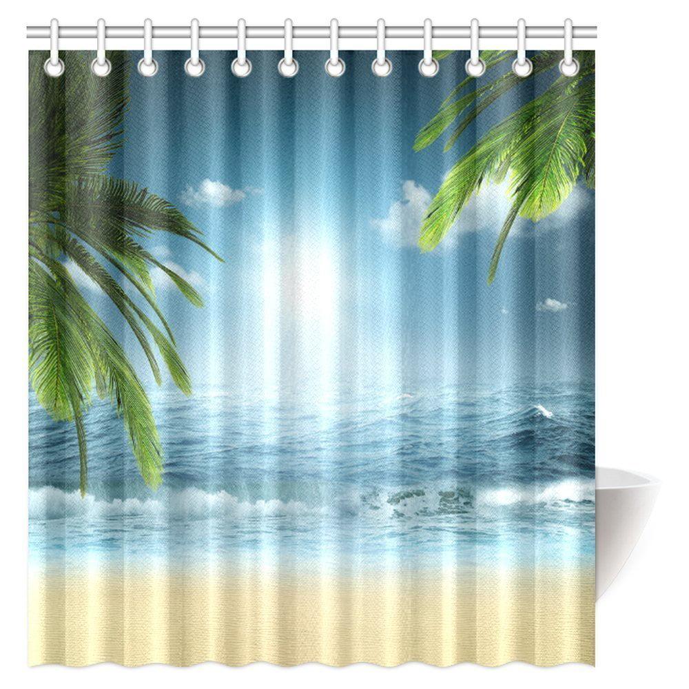 MYPOP Ocean Beach Theme Decorations Shower Curtain, Beach ...
