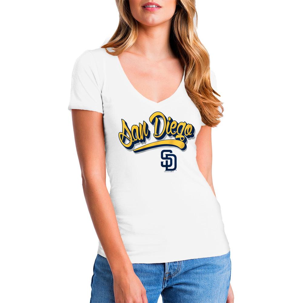 MLB San Diego Padres Women's Short Sleeve White Graphic Tee