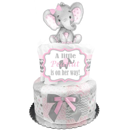 Elephant 2-Tier Diaper Cake for a Girl - Baby Shower Gift - Baby Shower Centerpiece - Pink and Gray