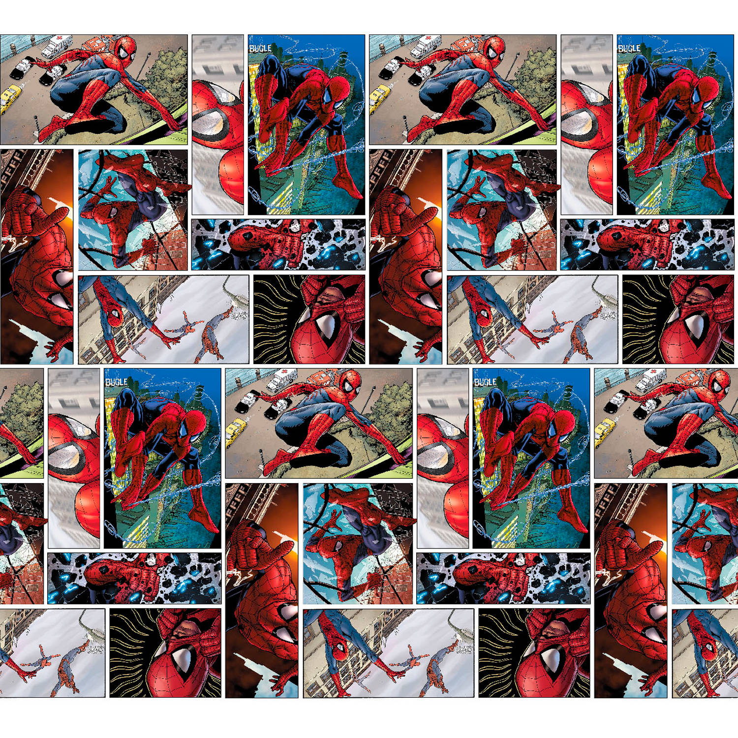 "Marvel Spiderman Comic Scenes, Multi-Colored, 43/44"" Width, Fabric by the Yard 53379-A62331"