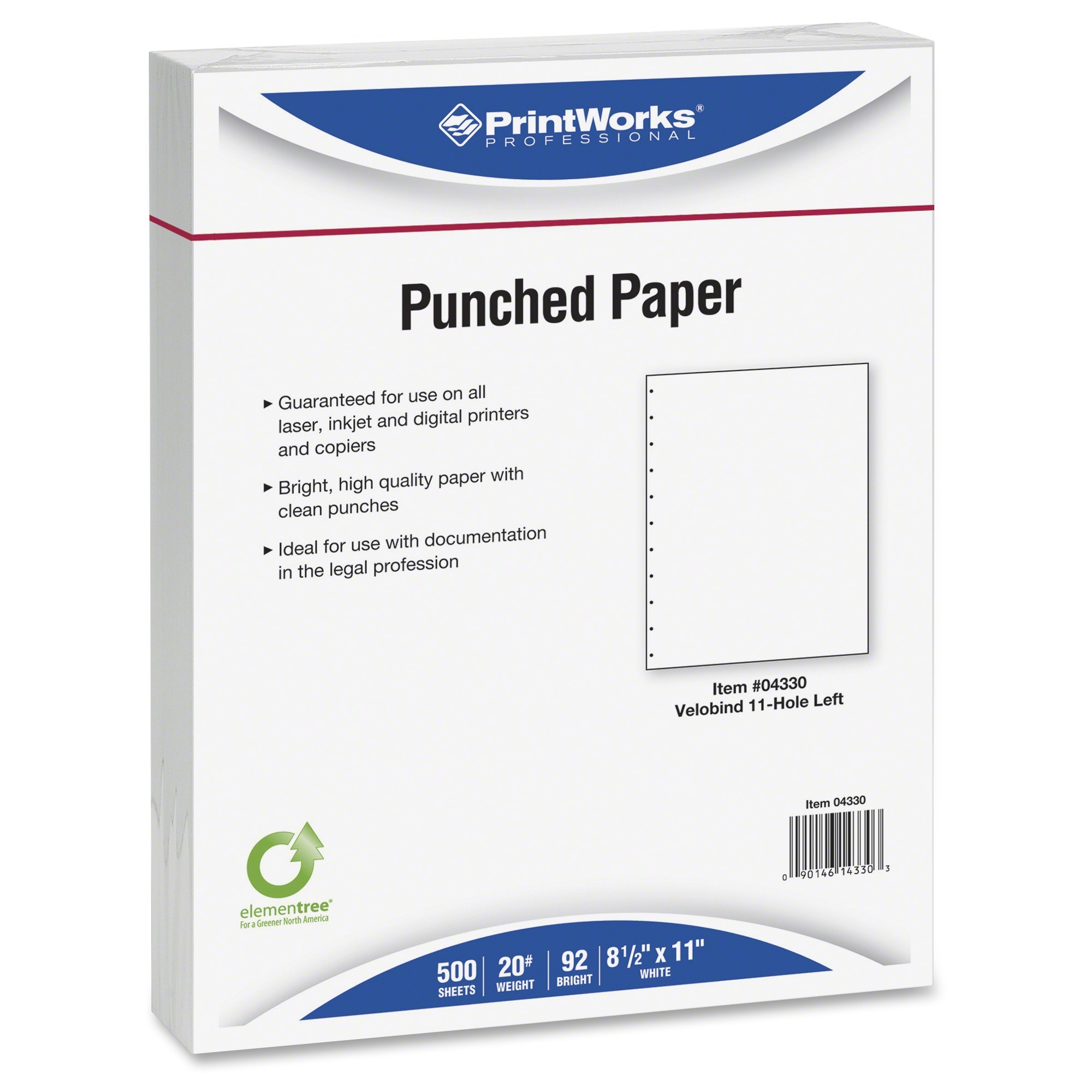 "Printworks Copy & Multipurpose Paper - For Laser, Inkjet Print - Letter - 8.50"" X 11"" - 20 Lb - 11 X Hole Punched - 500 Sheet - White (prb-04330)"