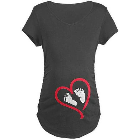 Baby Feet Heart Maternity Dark T-Shirt