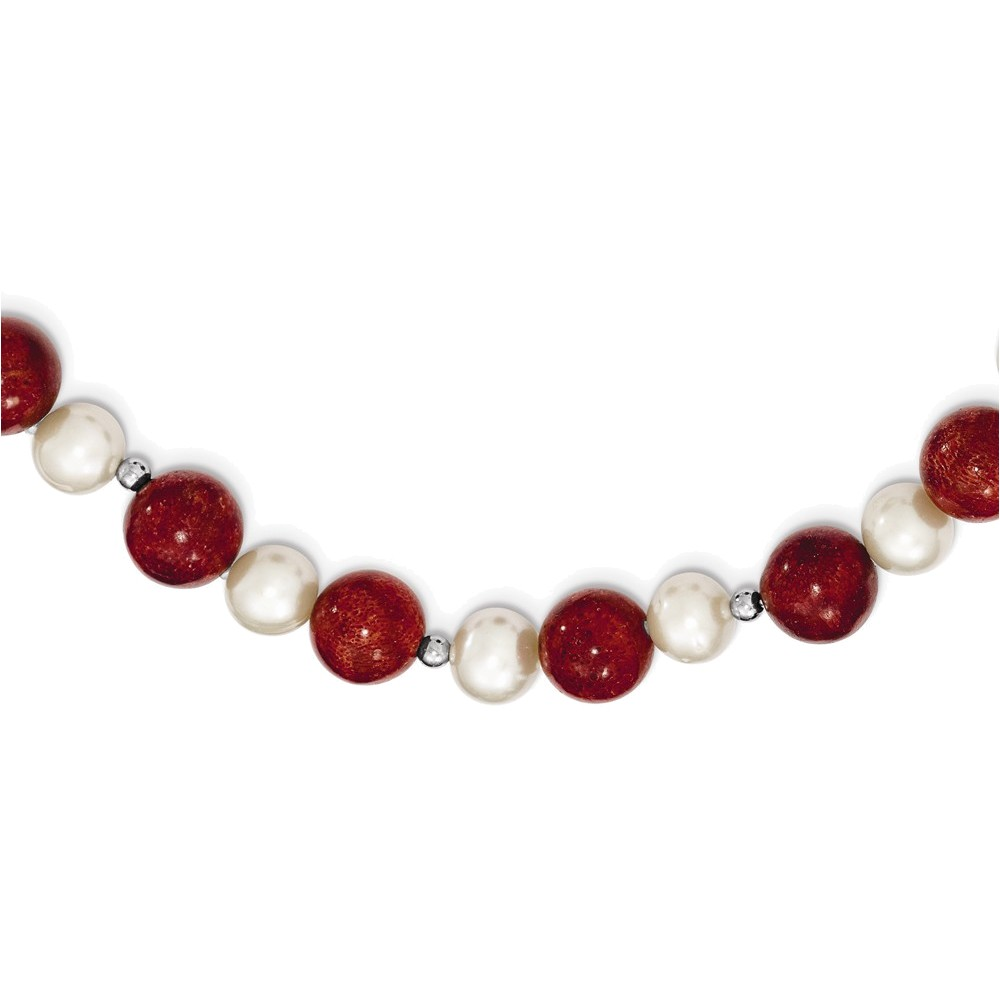 Sterling Silver FW Cultured Pearl & Stabilized Red Coral Necklace by