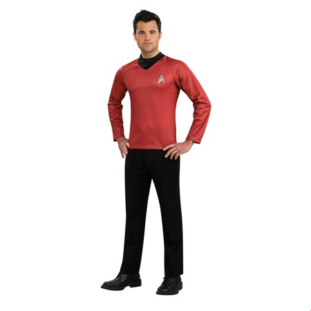 Star Trek Mens Movie Red Shirt Adult Halloween Costume - Red Star Trek Costume