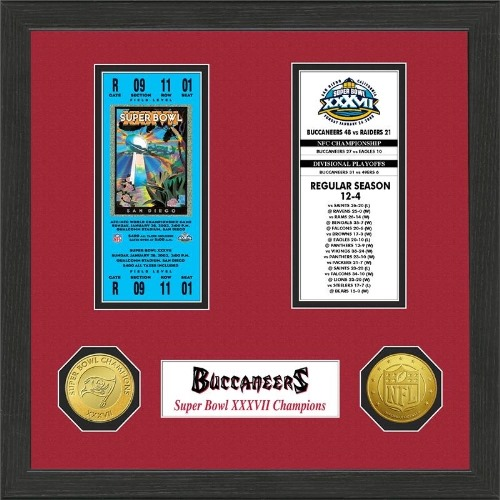 NFL Framed Wall Art by The Highland Mint, Tampa Bay Buccaneers - Super Bowl Championship Ticket