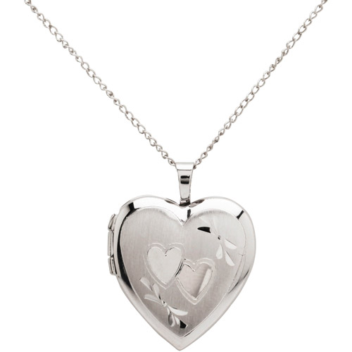 "Double-Heart Engraved Sterling Silver Heart Locket Pendant, 18"""
