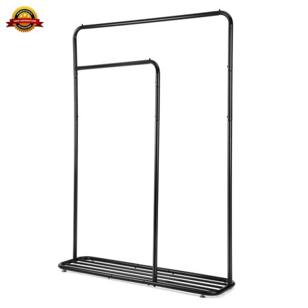 COZZINE Commercial Grade Garment Wheels, Adjustable Heavy Duty Double Rod Hanging Rack Clothes Stand-Black and