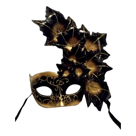 Black Gold Leaf Cascade Mask Masquerade Prom Mardi Gras](Masquerade Mardi Gras Masks)