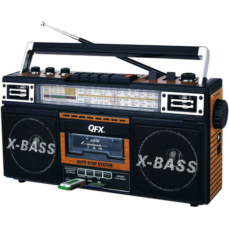 QFX AM/FM/SW1-SW2 4 Band Radio and Cassette to MP3 Converter, and Recorder with USB/SD/MP3 Player-Wood (Cd Player Dj Usb)