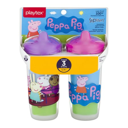Playtex Baby Sipsters Peppa Pig Stage 3 Insulated Spout Sippy Cup 9oz 2-Pk Assorted (Baby 2pk Sippy Cups)