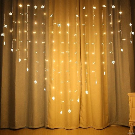 128 LED Fairy String Heart Shape Curtain Night Light for Wedding, Christmas, Home Bedroom Wall Decoration, Party -  Indoor and Outdoor - Heart Lights