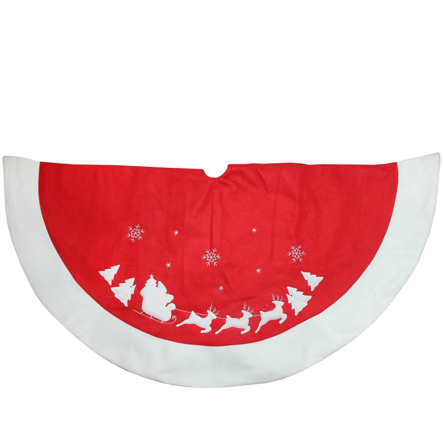 "48"" Red and White Santa Claus and Reindeer Embroidered Christmas Tree Skirt"